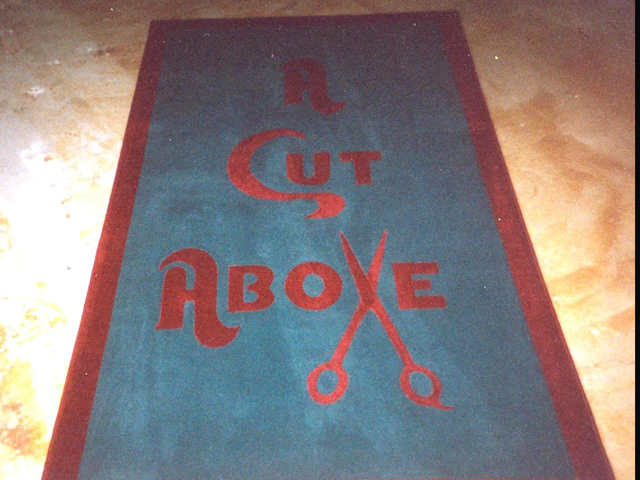 Inlayed rug for beauty shop